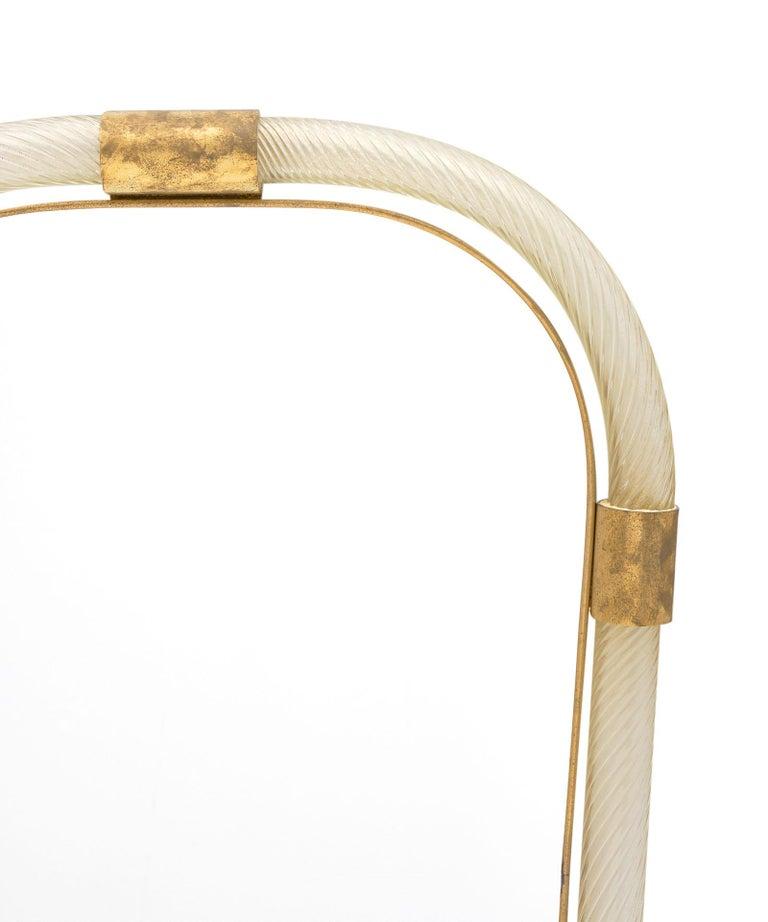 "Italian Murano Glass and Brass ""Torsado"" Mirror by Fuga For Sale"