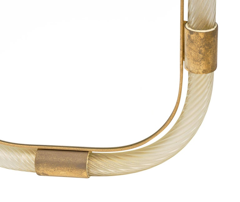 """Gold Murano Glass and Brass """"Torsado"""" Mirror by Fuga For Sale"""