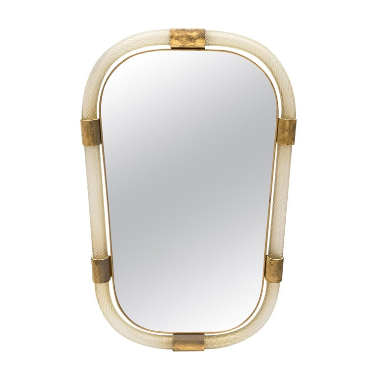"""Murano Glass and Brass """"Torsado"""" Mirror by Fuga For Sale"""