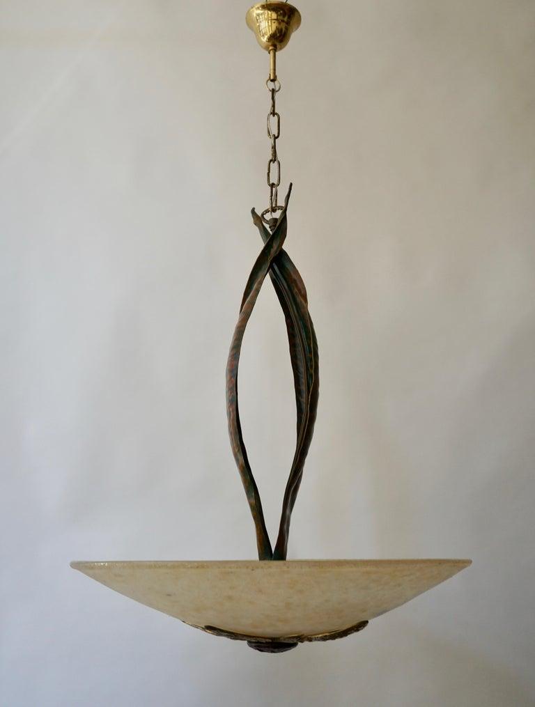 Murano Glass and Bronze Pendant Light  For Sale 4