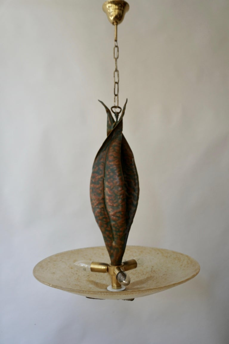 Murano Glass and Bronze Pendant Light  For Sale 5