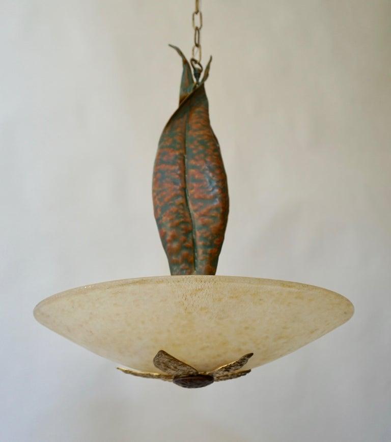 Mid-Century Modern Murano Glass and Bronze Pendant Light  For Sale