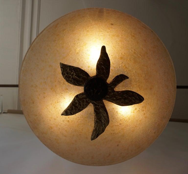 Brass Murano Glass and Bronze Pendant Light  For Sale