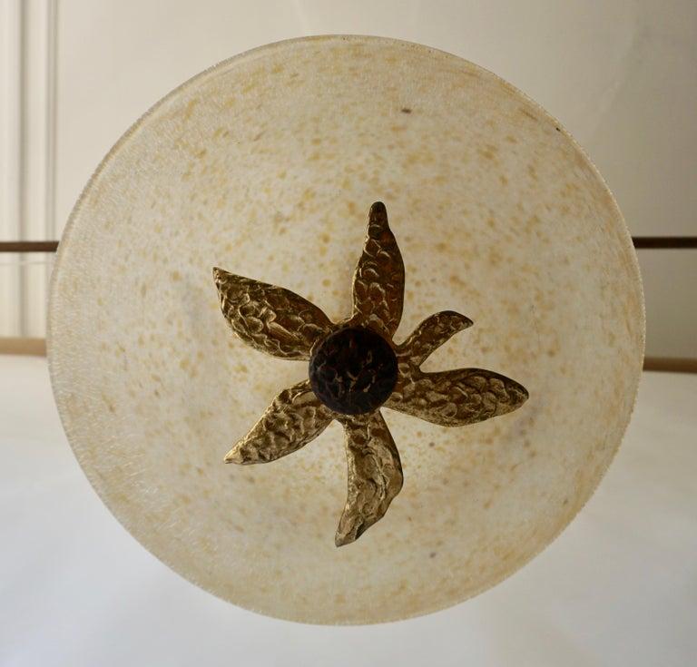 Murano Glass and Bronze Pendant Light  For Sale 1