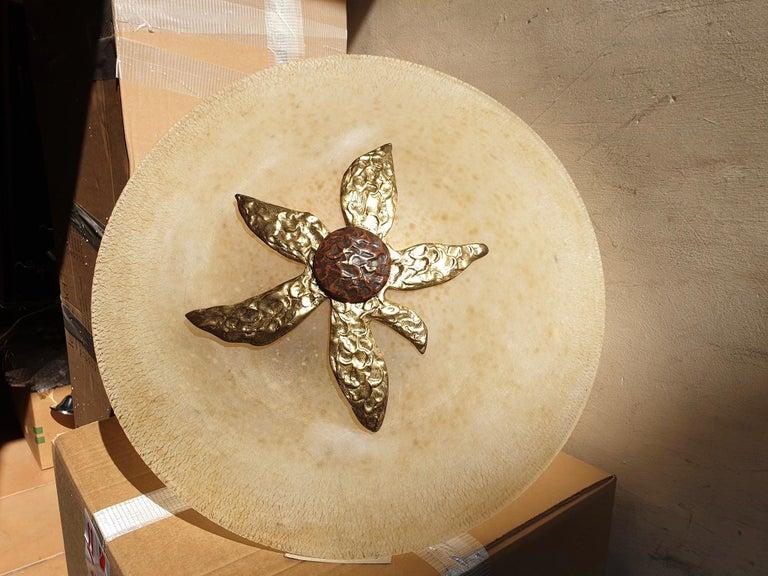 Murano Glass and Bronze Pendant Light  For Sale 2