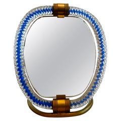 Murano Glass and Bronze Vanity Mirror Venini Style