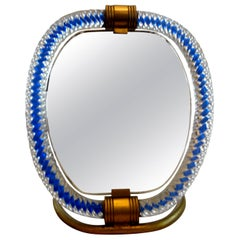 Murano Glass and Bronze Vanity Mirror Venini Style