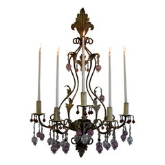 Murano Glass and Iron Belle Epoque Wall Candle Holder