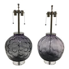Murano Glass and Lucite Table Lamps, a Set of 2