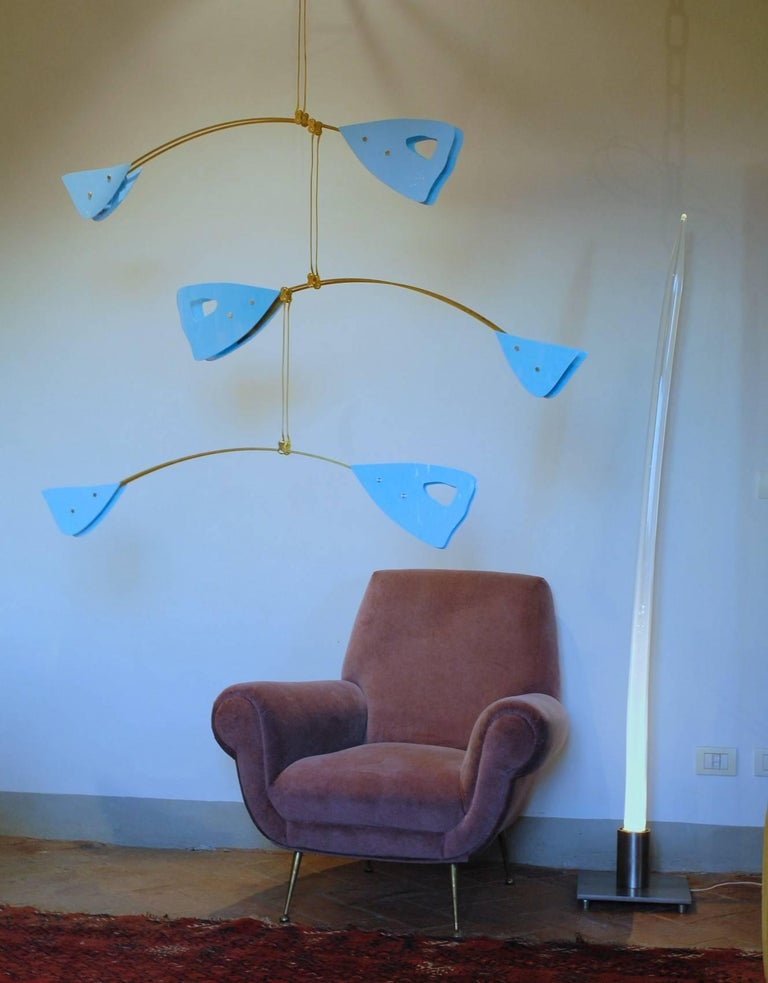 Murano Glass and Solid Brass Mobile Chandelier Sky Blue Glass Elements For Sale 6