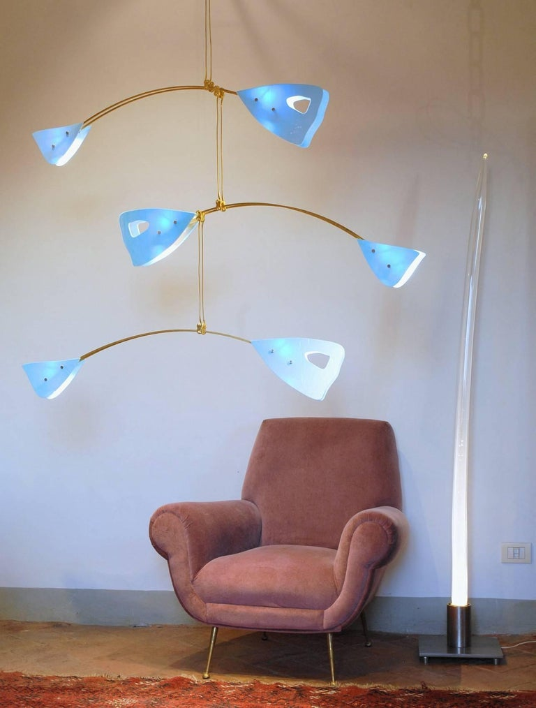 Murano Glass and Solid Brass Mobile Chandelier Sky Blue Glass Elements For Sale 8