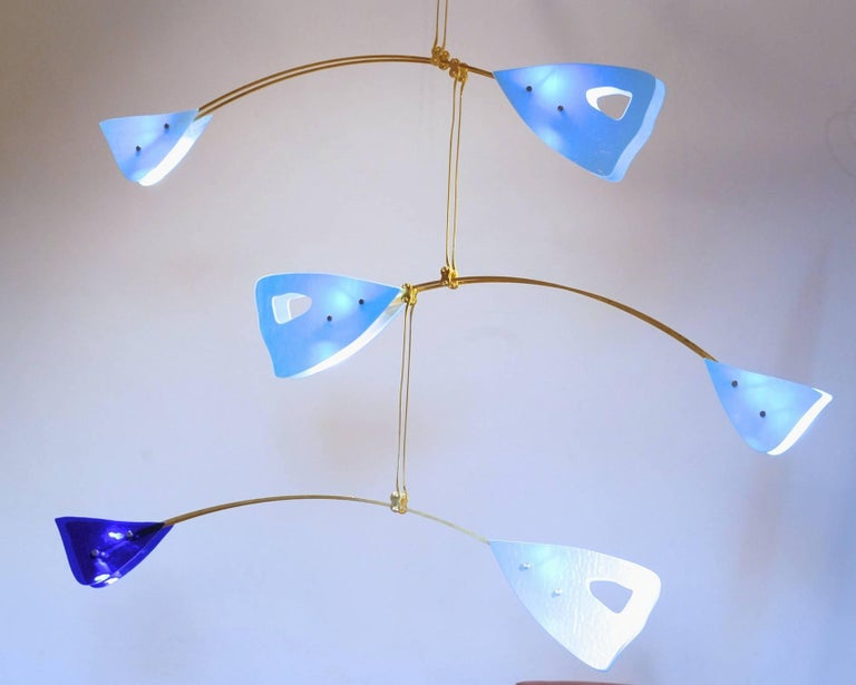 Murano Glass and Solid Brass Mobile Chandelier Sky Blue Glass Elements For Sale 10