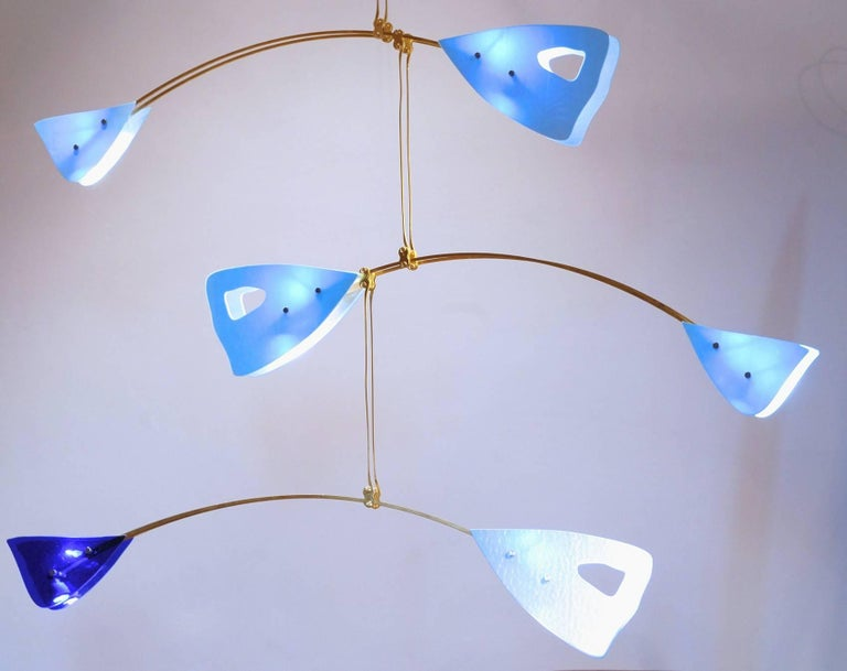 Murano Glass and Solid Brass Mobile Chandelier Sky Blue Glass Elements For Sale 11