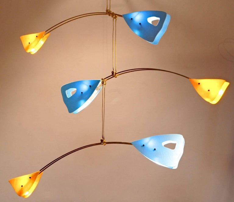 Murano Glass and Solid Brass Mobile Chandelier Sky Blue Glass Elements For Sale 12