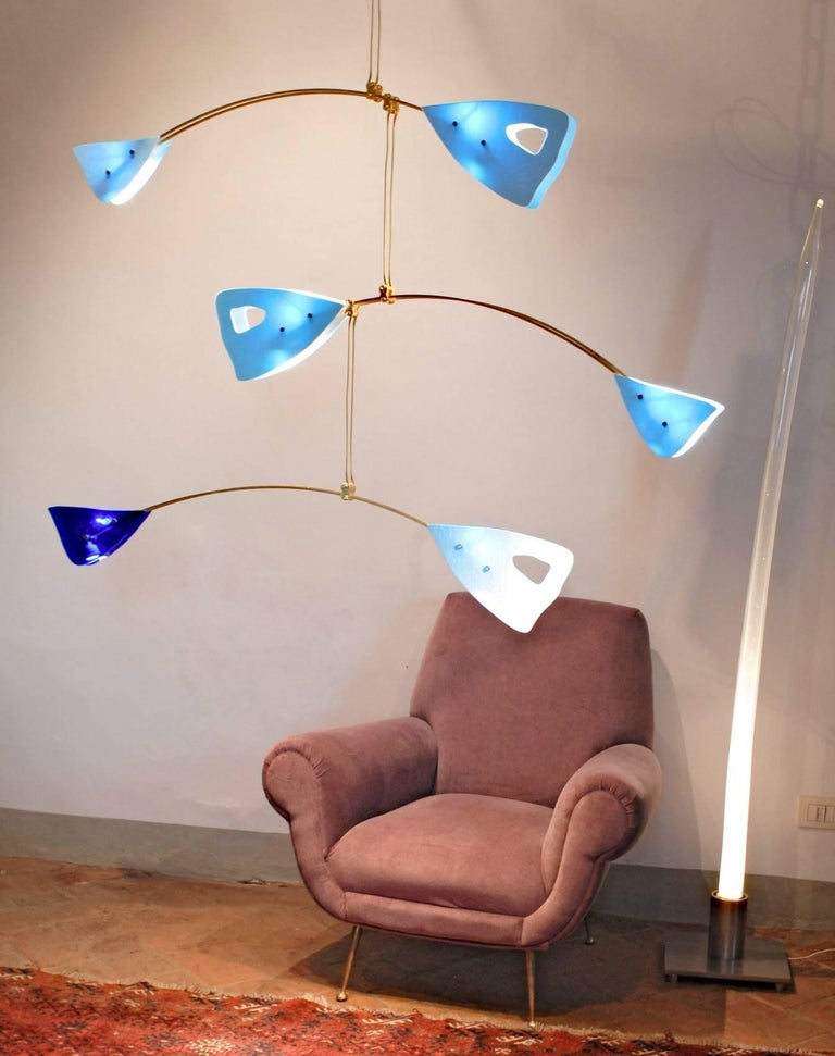 Murano Glass and Solid Brass Mobile Chandelier Sky Blue Glass Elements For Sale 13