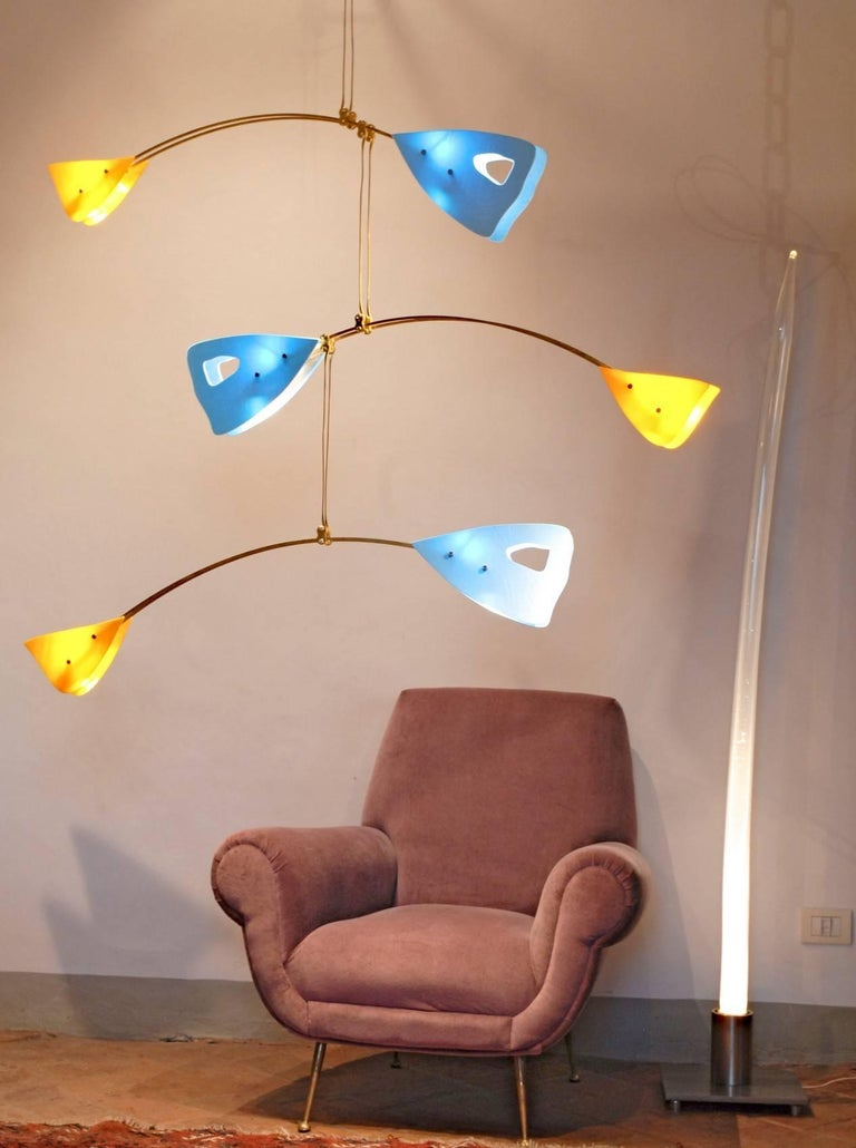 Murano Glass and Solid Brass Mobile Chandelier Sky Blue Glass Elements For Sale 14