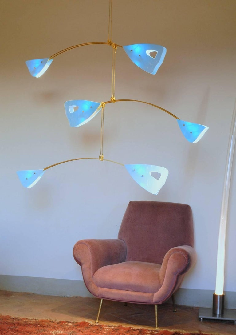 Mid-Century Modern Murano Glass and Solid Brass Mobile Chandelier Sky Blue Glass Elements For Sale