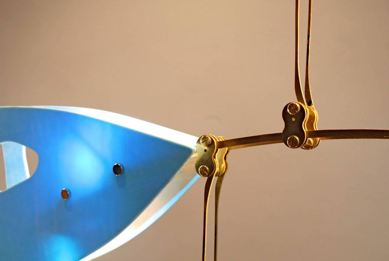 Italian Murano Glass and Solid Brass Mobile Chandelier Sky Blue Glass Elements For Sale