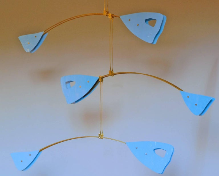 Murano Glass and Solid Brass Mobile Chandelier Sky Blue Glass Elements For Sale 1