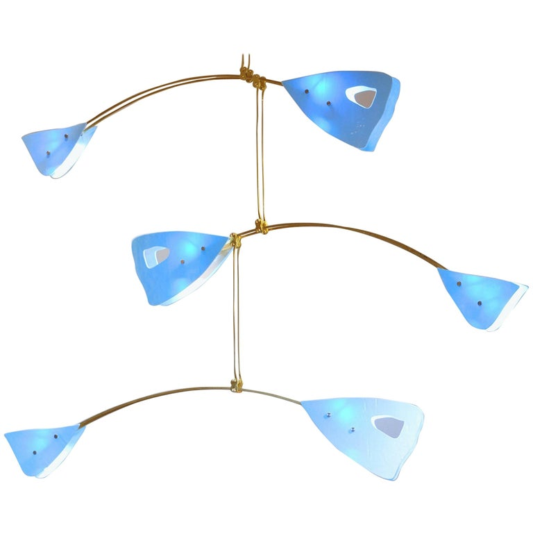 Murano Glass and Solid Brass Mobile Chandelier Sky Blue Glass Elements For Sale
