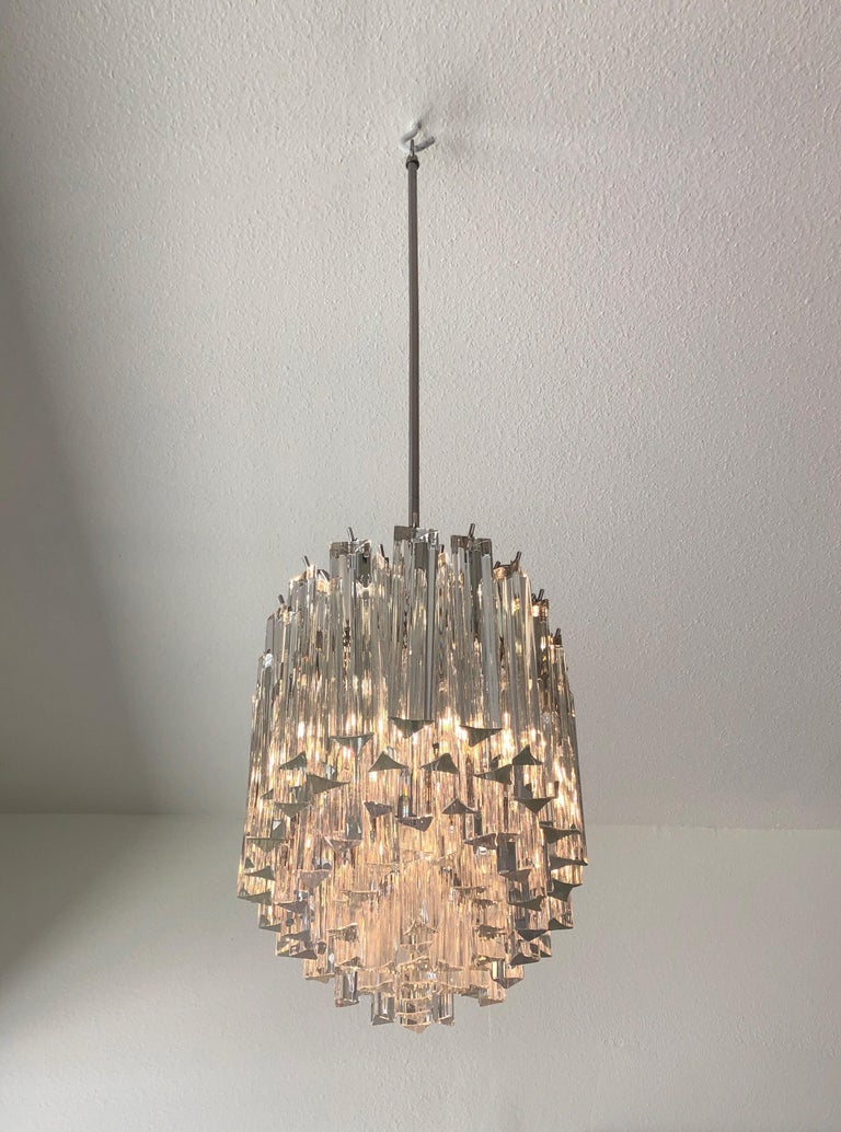 Mid-Century Modern Murano Glass and Stainless Steel Oval Chandelier by Venini For Sale