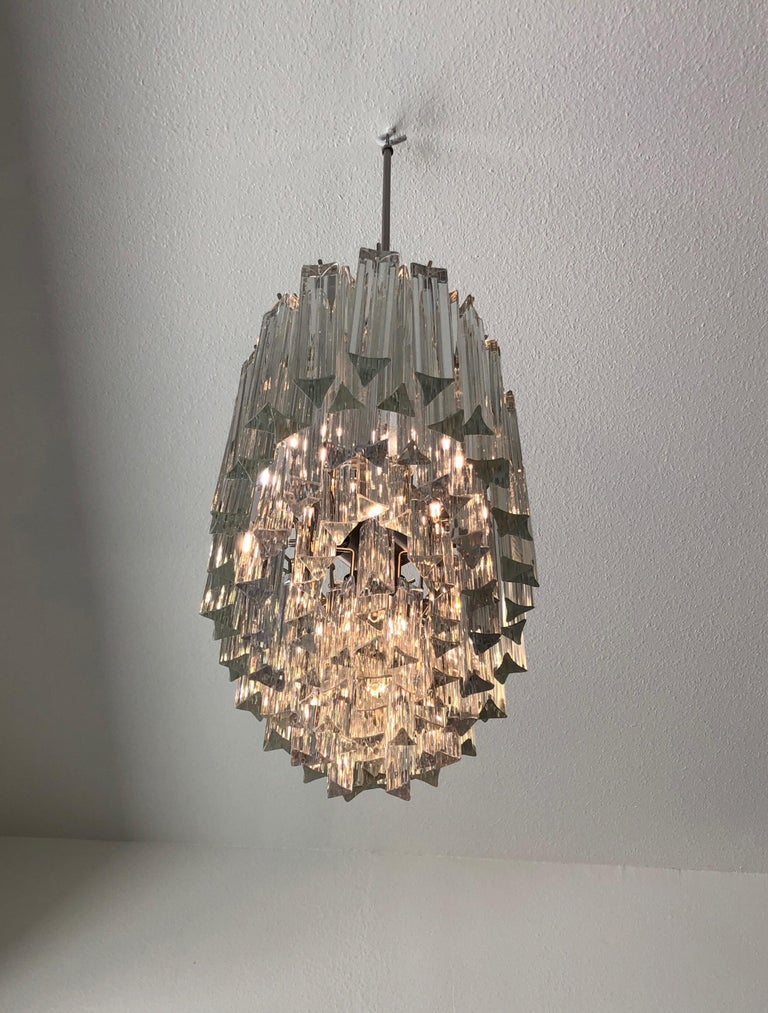 Italian Murano Glass and Stainless Steel Oval Chandelier by Venini For Sale