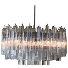 Murano Glass and Stainless Steel Oval Chandelier by Venini