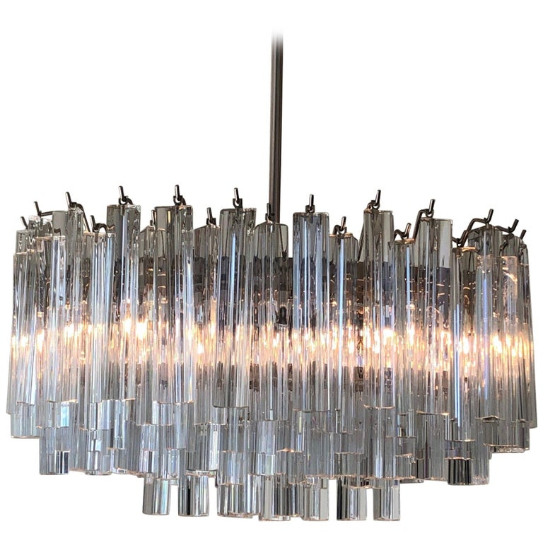 Murano Glass and Stainless Steel Oval Chandelier by Venini For Sale
