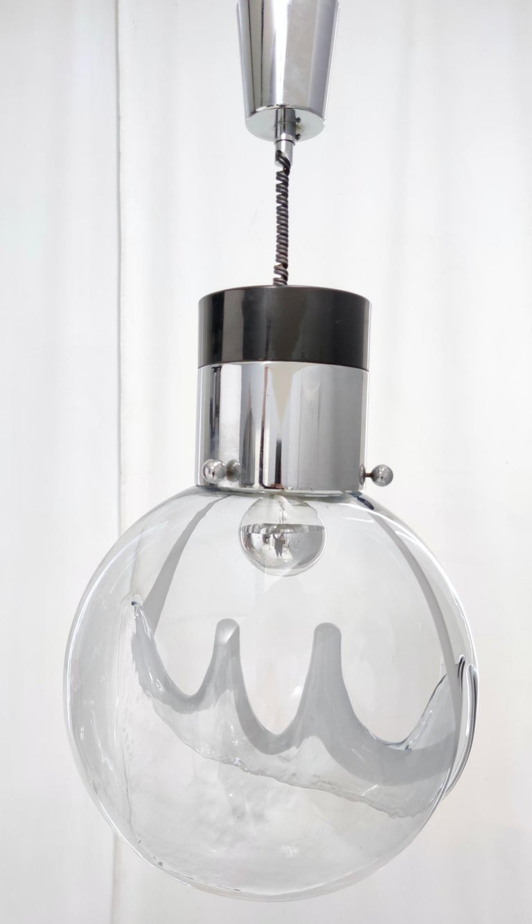 Italian Murano Glass and Varnished Metal Pendant by Toni Zuccheri for Venini, Italy For Sale