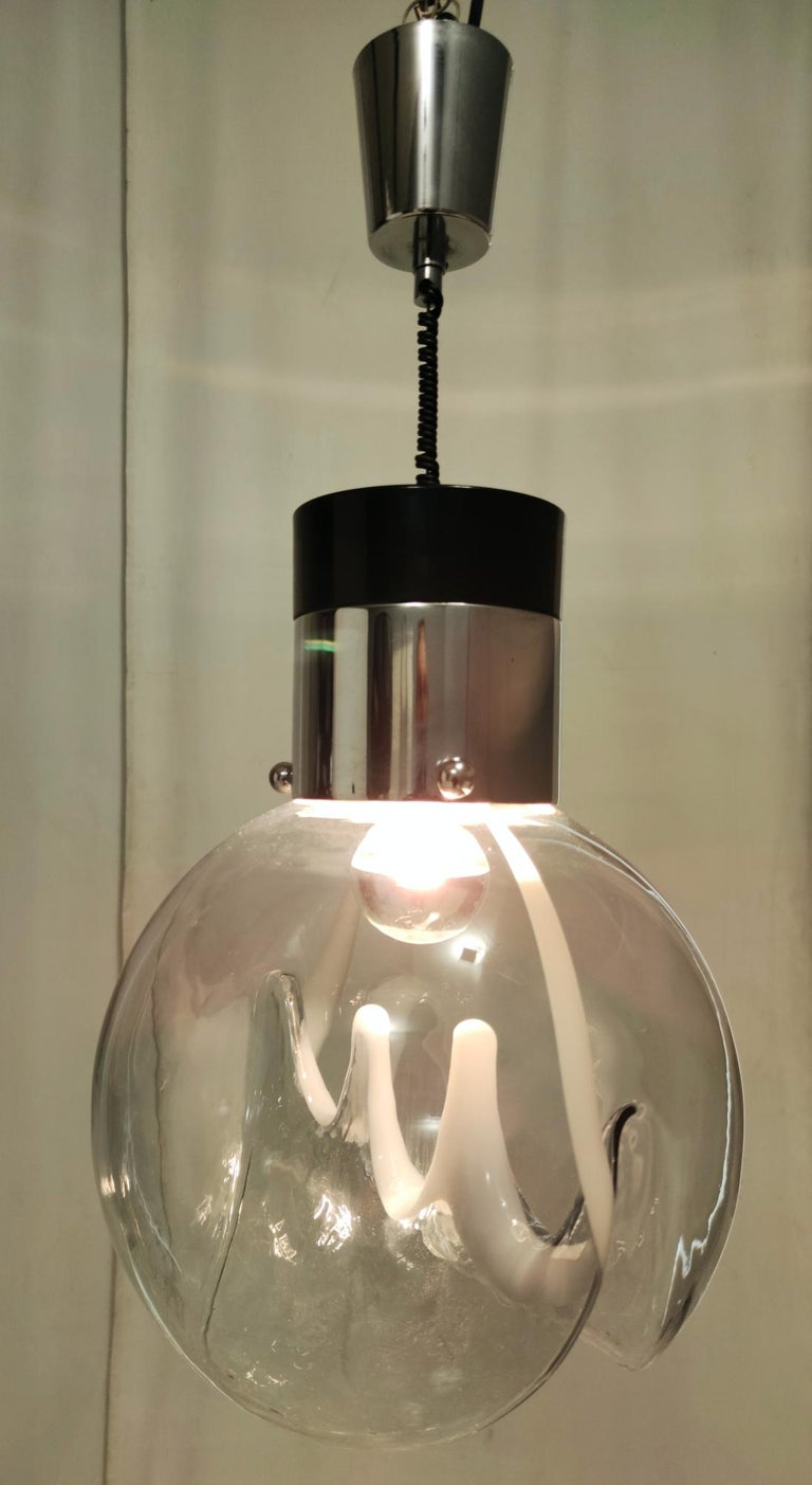 Plated Murano Glass and Varnished Metal Pendant by Toni Zuccheri for Venini, Italy For Sale