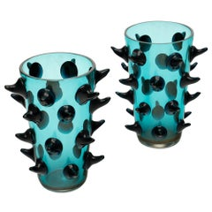 Murano Glass Aqua Vases by Costantini