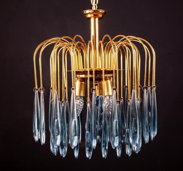 Murano Glass Aquamarine Drops Brass Frame Chandelier Venini, 1970s For Sale 3