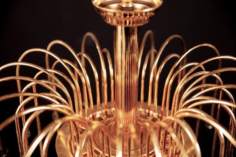 Italian Murano Glass Aquamarine Drops Brass Frame Chandelier Venini, 1970s For Sale