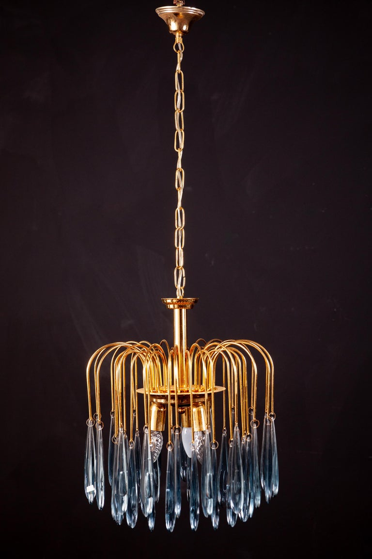 20th Century Murano Glass Aquamarine Drops Brass Frame Chandelier Venini, 1970s For Sale