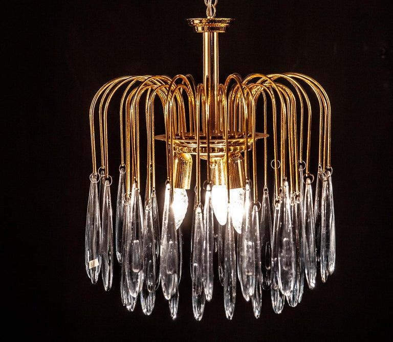 Metal Murano Glass Aquamarine Drops Brass Frame Chandelier Venini, 1970s For Sale