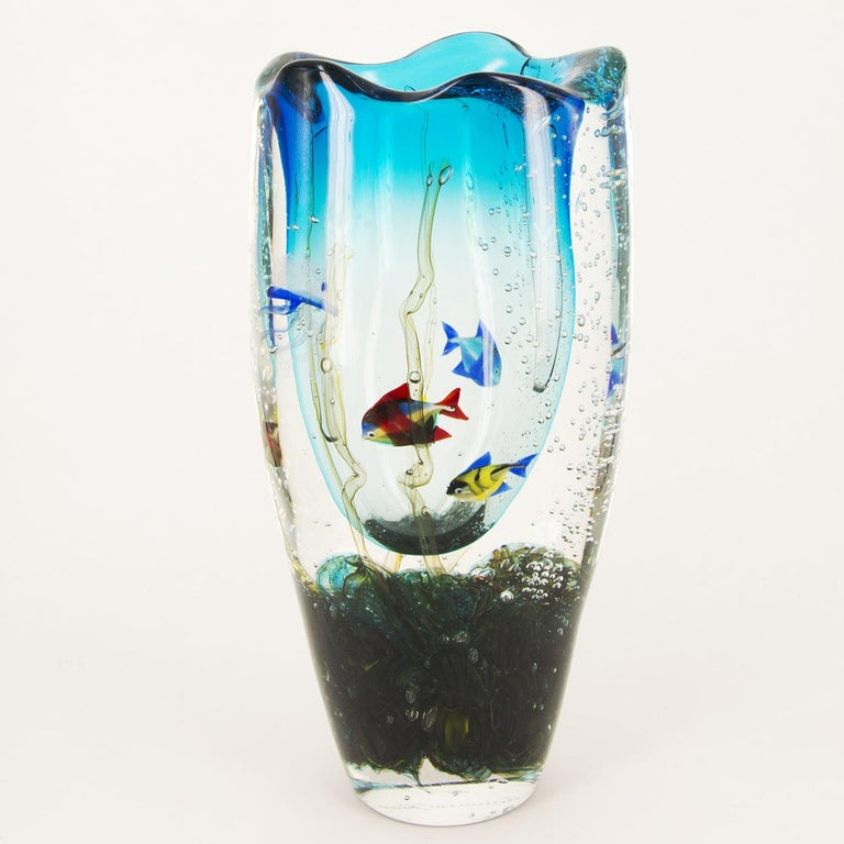 Murano Glass Aquarium Vase by Romano Donà In Good Condition For Sale In Milan, IT