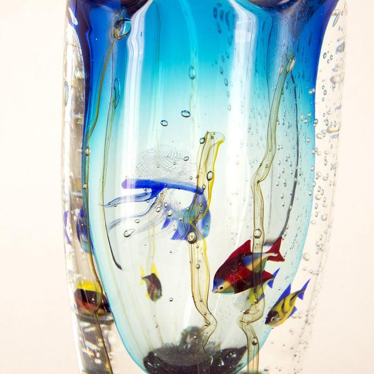 Late 20th Century Murano Glass Aquarium Vase by Romano Donà For Sale