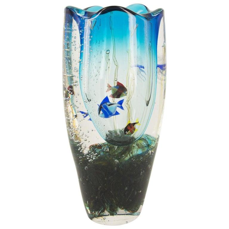 Murano Glass Aquarium Vase by Romano Donà For Sale