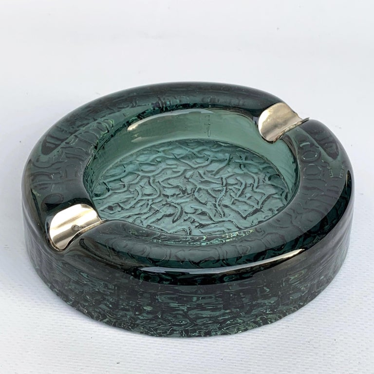 Mid-Century Modern Murano Glass Ashtray with Sterling Silver Details, Italy, 1960s For Sale