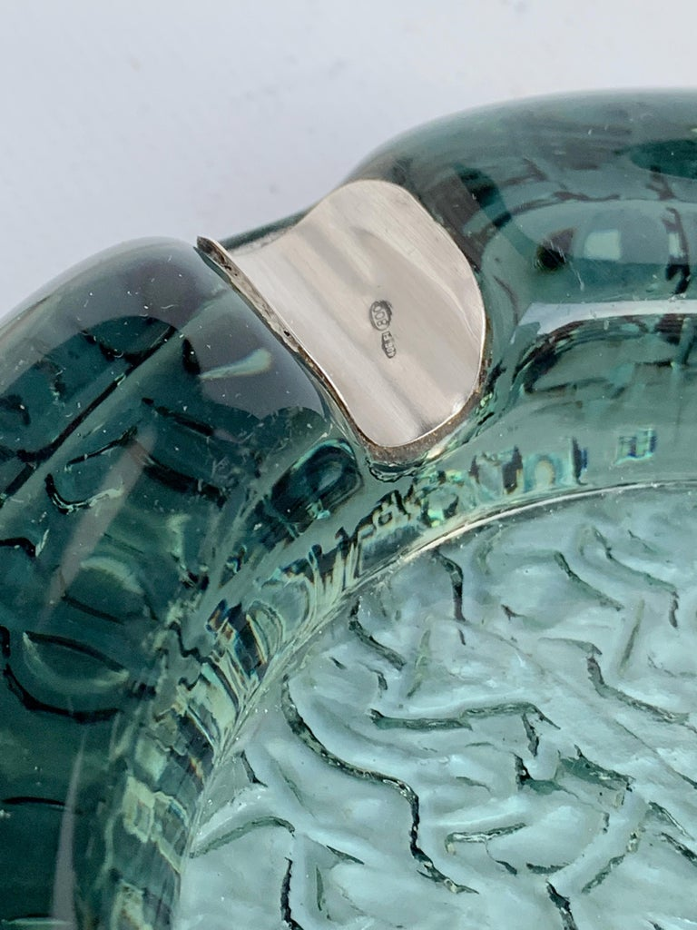 Murano Glass Ashtray with Sterling Silver Details, Italy, 1960s For Sale 2