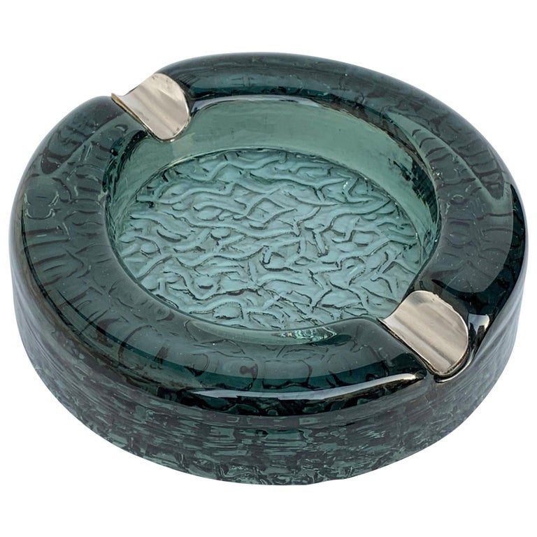 Murano Glass Ashtray with Sterling Silver Details, Italy, 1960s For Sale