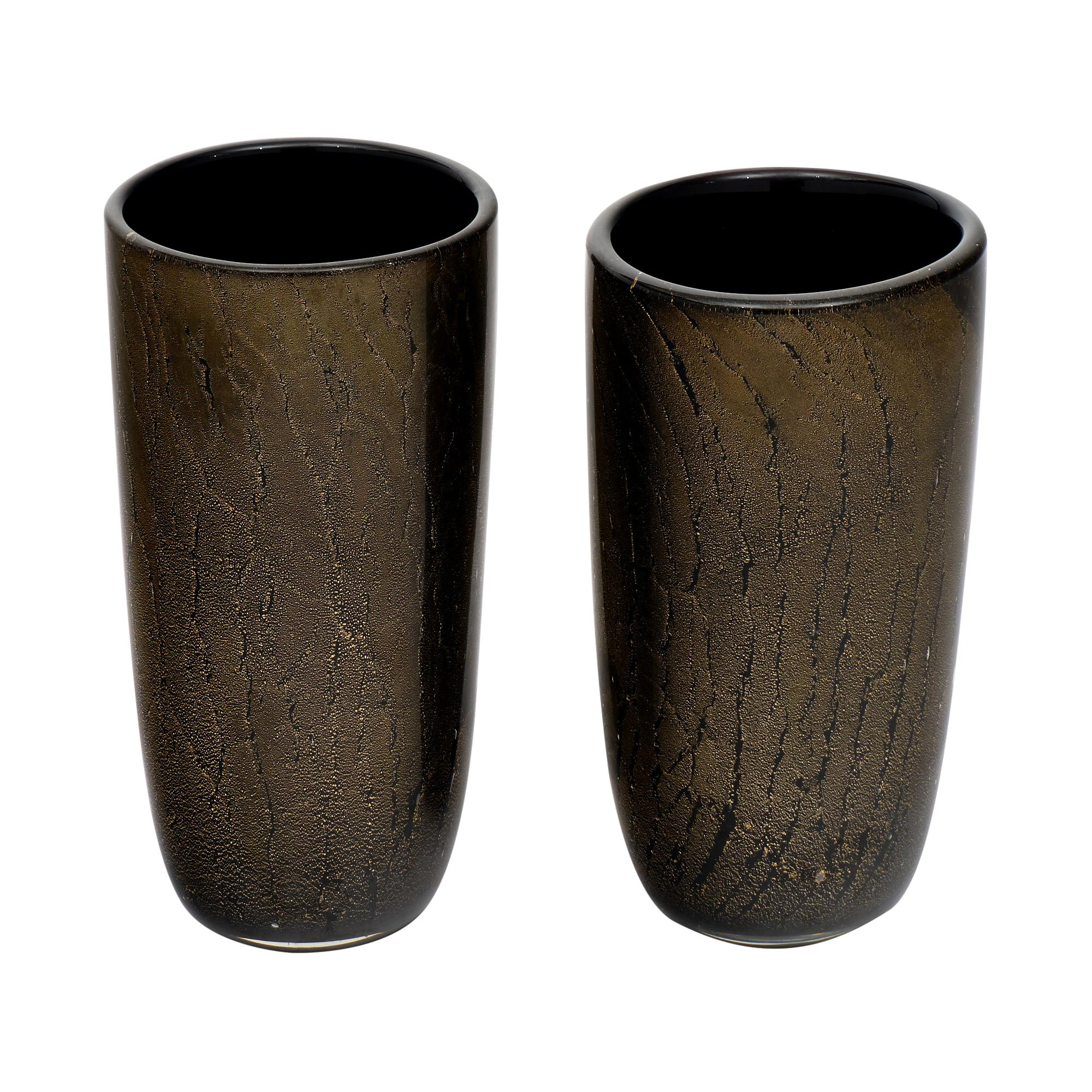 Murano Glass Avventurina and Black Vases