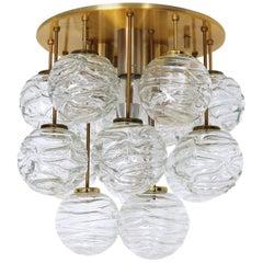 1960 Germany Doria Sputnik Flush Mount Murano Glass Balls & Brass