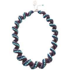 Murano glass beads hand made blue and purple neklace by venetian artist Paola B.