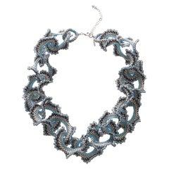 Murano glass beads hand made blue & silver fashion neklace by artist Paola B.