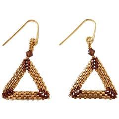 Murano glass beads hand made gold fashion earrings by Venetian artist Paola B.