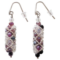 Murano glass beads hand made purple and silver drop earrings by artist Paola B.