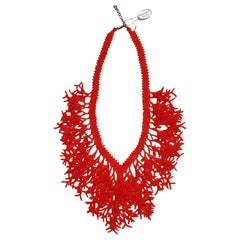Murano glass beads handmade red coral necklace by Italian artist Paola B.