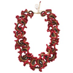 Murano glass beads hand made red & gold fashion neklace by artist Paola B.