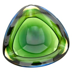 Murano Glass Biomorphic Lobed Geode with Three Lobes Attributed to Flavio Poli